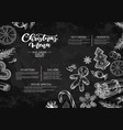 christmas menu chalkboard restaurant and cafe vector image vector image