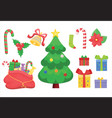 christmas set christmas tree and bag with vector image vector image