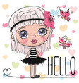 cute cartoon girl with a flower vector image vector image