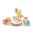 cute girl riding rocking horse and presents vector image