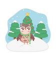 cute owl with scarf lights trees merry christmas vector image vector image