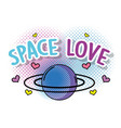 cute planet with hearts to space love vector image vector image