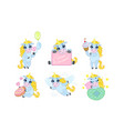 cute unicorn cartoon character set lovely vector image