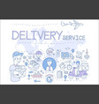 delivery service concept icons in vector image vector image