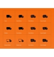 Delivery Trucks icons on orange background vector image vector image