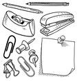 doodle office supplies vector image vector image