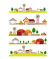 farm and building landscape skyline set vector image vector image