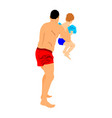 father and little son playing on beach vector image