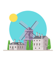 Flat design of europe village with windmill vector image