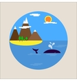 Flat picture sea holiday tourism icon vector image vector image