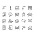 france paris simple black line icons set vector image