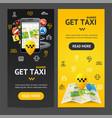 get taxi service banner vecrtical set vector image vector image