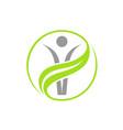 grey person in green jin jang circle vector image vector image
