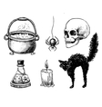 hand drawn Halloween set Vintage vector image vector image