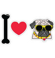 I love pugs with hipsters glasses and collar vector image vector image
