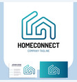 isolated two line style home connect logo or vector image vector image