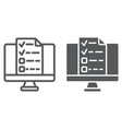 online tests line and glyph icon e learning vector image vector image