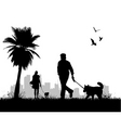 people walking dogs vector image vector image