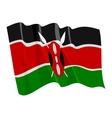 political waving flag of kenya vector image vector image