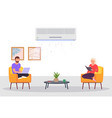 room with air conditioning and people man and a vector image vector image