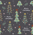 seamless pattern with decorated christmas trees vector image vector image