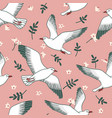 seamless pattern with seagulls flowers and leaves vector image vector image