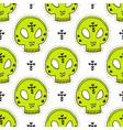 seamless pattern with skulls halloween vector image vector image