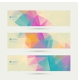 set banners with triangles and polygon mesh vector image