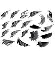 set heraldic bird wings vector image vector image
