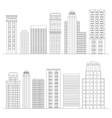 set line skyscrapers black and white vector image