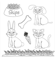 set of drawings of domestic pets and accessories f vector image