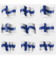 Set of Finland flags in the air vector image