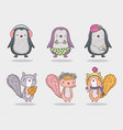 set penguin and squirrel cute animal with hat vector image