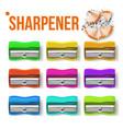 sharpener stationery set plastic vector image