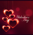 shiny hanging red hearts bokeh background vector image