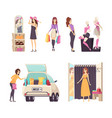 shopping woman with paper bags walking set vector image