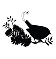 silhouette cute bird and flower composition vector image vector image