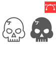 skull line and glyph icon video games and death vector image vector image