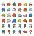 sofa and chair filled outline icon set vector image vector image