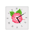 square wall clock with pink flower vector image vector image
