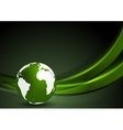 Tech background with globe and smooth waves vector image vector image