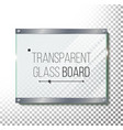 transparent glass plate mock up plastic vector image