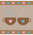 Two teacups with hearts Love card vector image