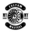 vintage emblem of car disk vector image vector image