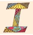 Vintage monogram I Doodle colorful alphabet vector image