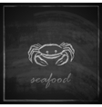 vintage with a crab on blackboard background vector image vector image