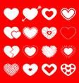 white heart big icon set happy valentines day vector image vector image