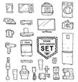 Home appliances doodle set vector image