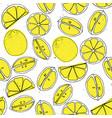 yellow lemon hand draw seamless pattern with light vector image