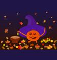 a cartoon pumpkin prepares apples in caramel vector image